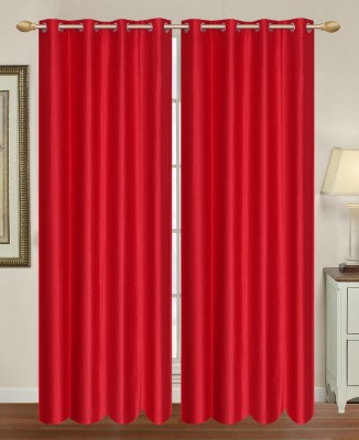 HomeTex Polycotton Red Plain Eyelet Long Door Curtain