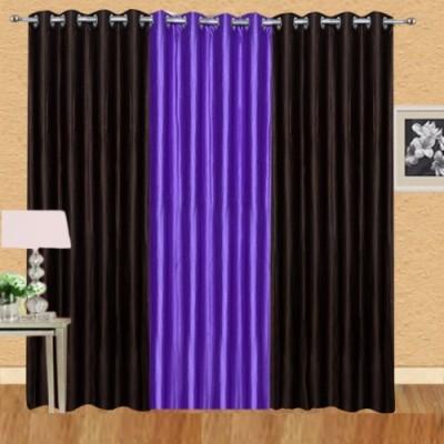 Shiv Shankar Handloom Polyester Brown, Purple Crush Solid Eyelet Door Curtain