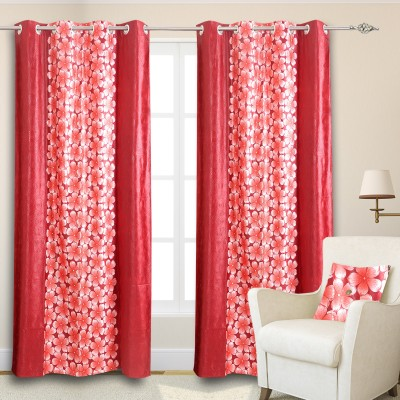 Maxx Home Polycotton Multicolor Floral Eyelet Door Curtain