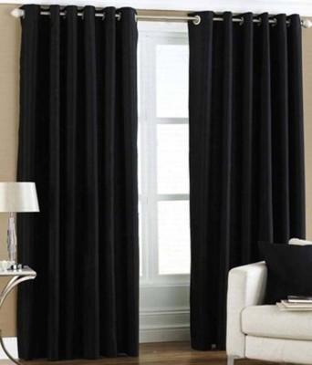 sajaawat Polyester Black Plain Eyelet Long Door Curtain