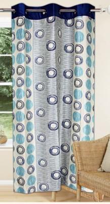 Drapez Polyester Cream & Blue Printed Eyelet Window Curtain