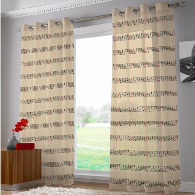 Right Polyester White Abstract Eyelet Door Curtain