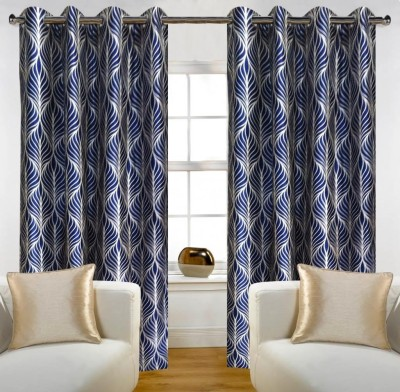 Home Candy Polyester Blue Embroidered Eyelet Door Curtain