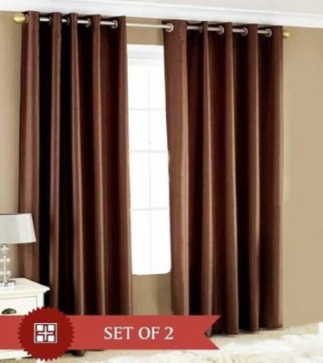 Profabhome Polyester Brown Solid Eyelet Long Door Curtain