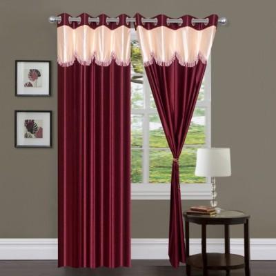 Handloom Hut Polyester Maroon Solid Eyelet Long Door Curtain