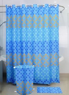 Skap Polyester Blue Polka Ring Rod Shower Curtain