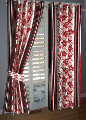 KANHA Polyester Multicolor Floral Eyelet Long Door Curtain