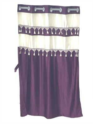 Ajratex Polyester Purple, Gold Solid Eyelet Window Curtain