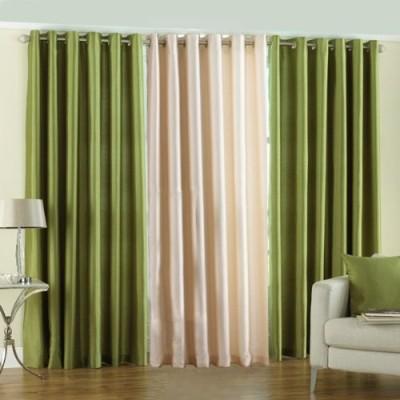 The Decor Hub Polyester Green, Cream Plain Eyelet Window Curtain