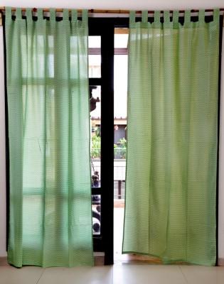 Ocean Homestore Cotton Green Self Design Eyelet Window Curtain