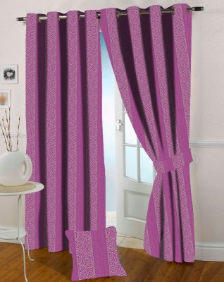 Presto Polyester Pink Floral Eyelet Window Curtain