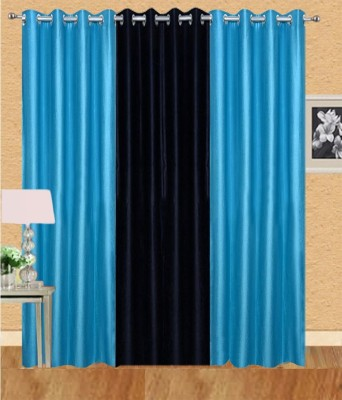 shivamconcepts Polyester Blue Plain Eyelet Door Curtain