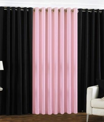 The Decor Hub Polyester Black, Baby Pink Plain Eyelet Door Curtain