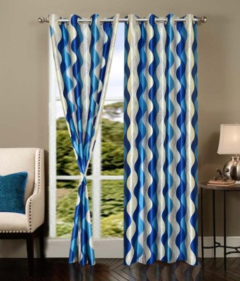 Creativehomes Polyester Multicolor Abstract Eyelet Window Curtain