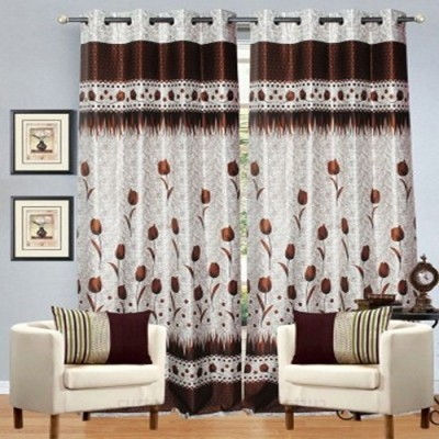 Handy Texty Polyester Brown Floral Eyelet Door Curtain