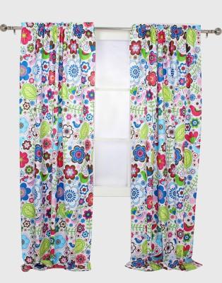 Bacati Cotton Multicolor Floral Eyelet Window & Door Curtain