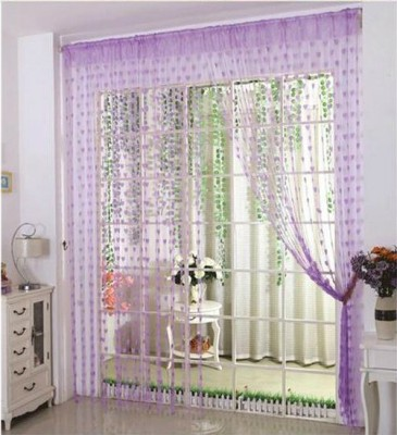 Elsker Polyester Purple Self Design Eyelet Door Curtain