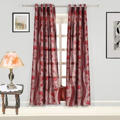 Splendid Polyester Red Floral Eyelet Door Curtain