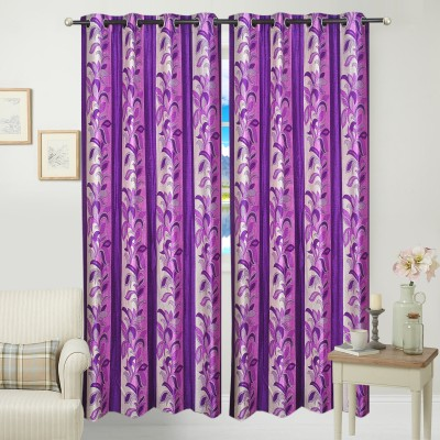 Jars Collections Polyester Mauve Floral Eyelet Door Curtain