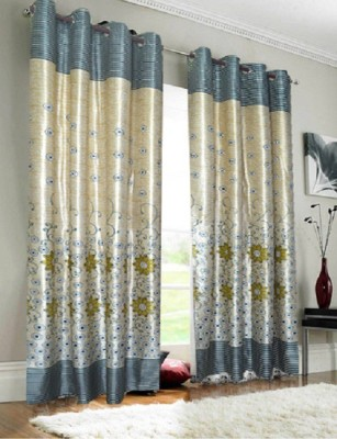 Panipat Textile Hub Polyester Green Floral Eyelet Door Curtain