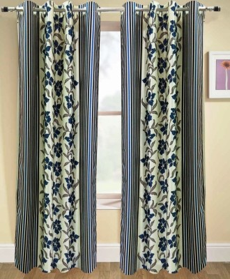 Urban Arts Polyester Dark Blue Solid Eyelet Door Curtain