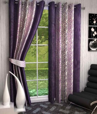 Divine Polyester White, Purple Abstract Eyelet Window Curtain
