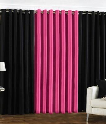 The Decor Hub Polyester Black, Pink Plain Eyelet Door Curtain