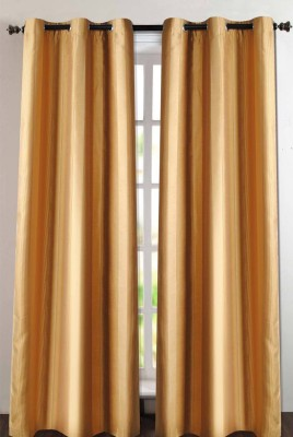 Deco Essential Polyester Dark Gold Plain Eyelet Window Curtain