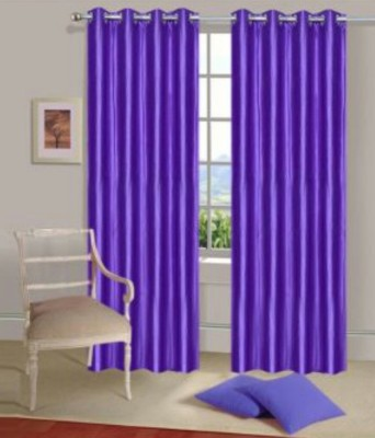Panipat Textile Hub Polyester Purple Plain Eyelet Door Curtain