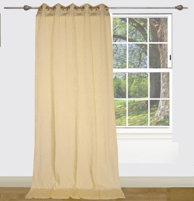 Edit One Polyester Off White Self Design Rod pocket Window & Door Curtain