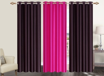 Furnishing Zone Polyester Brown, Pink Plain Eyelet Long Door Curtain