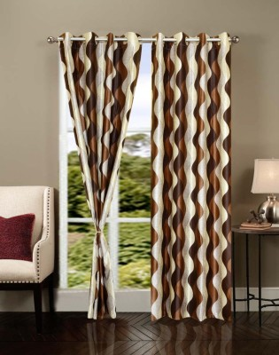 Brand Decor Polyester Multicolor Printed Eyelet Window Curtain
