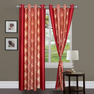 Homesazz Polyester Maroon Floral Ring Rod Door Curtain