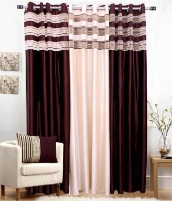jai ganga curtains Polyester coffee and cream Plain Curtain Door Curtain