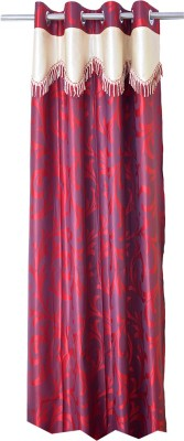 Trendy Home Polyester Maroon Printed Eyelet Window Curtain