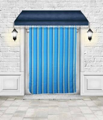 Lukluck Cotton Blue Abstract Ring Rod Door Curtain