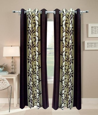 iLiv Polyester Brown Checkered Eyelet Door Curtain