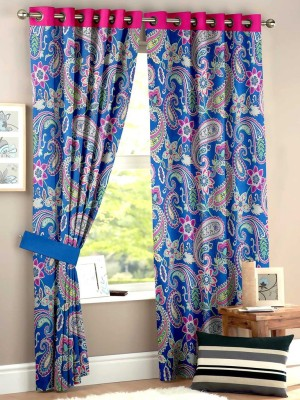 HOMEC Polyester Blue Paisley Eyelet Window & Door Curtain