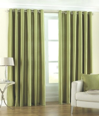 The Decor Store Polyester Green Plain Eyelet Door Curtain