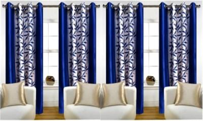 RedHot Polyester Blue Printed Eyelet Door Curtain