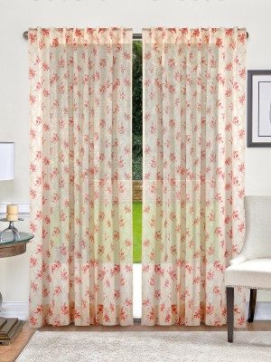 Indian Weave Cotton Cream and Pink Printed Curtain Window Curtain