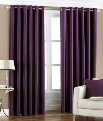 RK Home Furnishing Polyester Purple Solid Eyelet Door Curtain