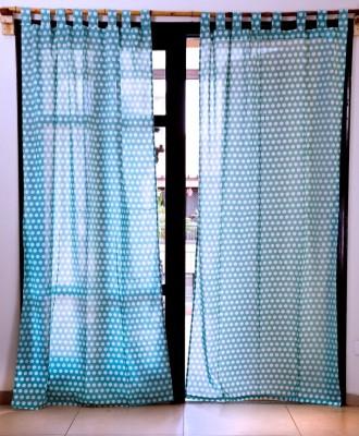 Ocean Homestore Cotton Blue Polka Eyelet Window Curtain
