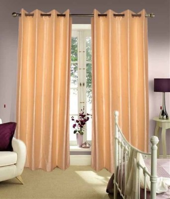 Fogg Polyester Beige Solid Tab Top Door Curtain