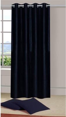 Sai Arpan Polyester Black Plain Eyelet Window Curtain