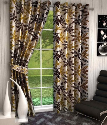 Divine Polyester Multicolor Floral Eyelet Window & Door Curtain