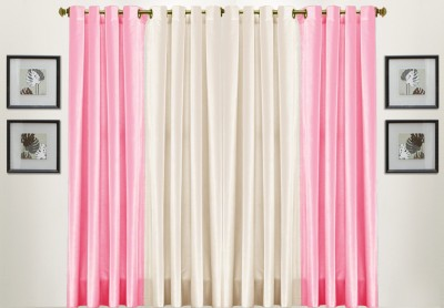 Thiwas Polyester Pink, Cream Solid Eyelet Door Curtain