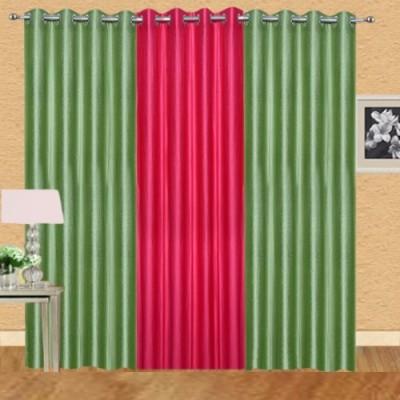 Shiv Shankar Handloom Polyester Green, Dark Pink Crush Solid Eyelet Door Curtain