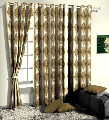 Curtainman Polyester Green Motif Eyelet Door Curtain