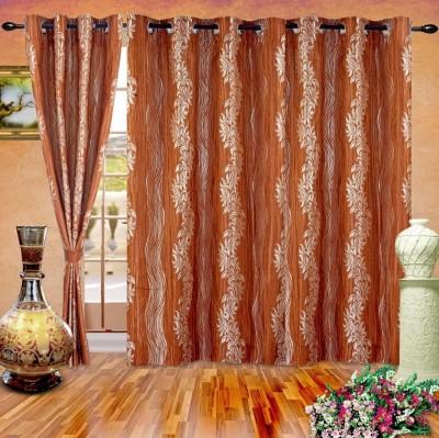 Cortina Polyester Orange Abstract Eyelet Long Door Curtain